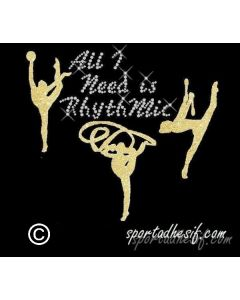"Transfert Thermocollant Strass 21cm ""All I need is RHYTHMIC"" «Or»"