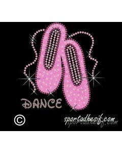 Transfert Thermocollant Strass 19cm Chaussons Danse «Rose clair»