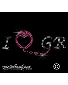 Transfert Strass Textile Thermocollant I Love GR 20cm Argent Cristal