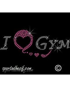 Transfert Thermocollant strass textile I Love Gym 20cm argent cristal