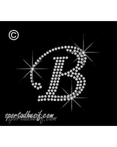 Transfert Strass Textile Thermocollant Lettre «B» Alphabet «Cristal»